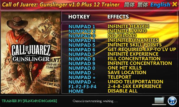 Call of Juarez: Gunslinger +12 Trainer [FliNG]