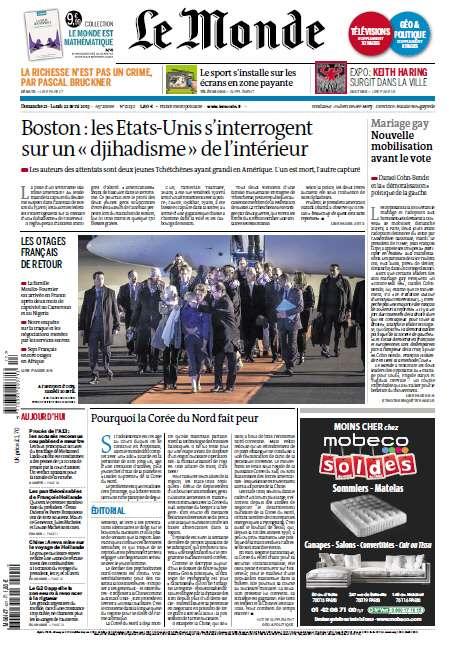 Le Monde Dimanche 21 au Lundi 22 Avril 2013