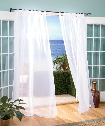 INDOOR OUTDOOR SHEER CURTAINS WHITE OR IVORY 84 OR 96 INCH